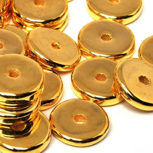 Ceramic Beads-13mm Round Disc-Gold