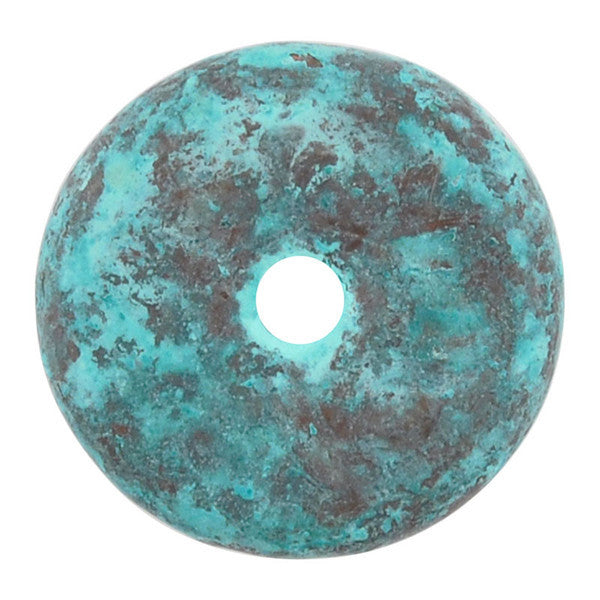 Ceramic Beads-13mm Round Disc-Green Patina