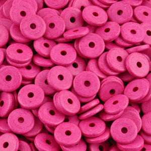 Ceramic Beads-13mm Round Disc-Hot Pink
