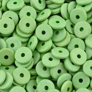 Ceramic Beads-13mm Round Disc-Lime Green