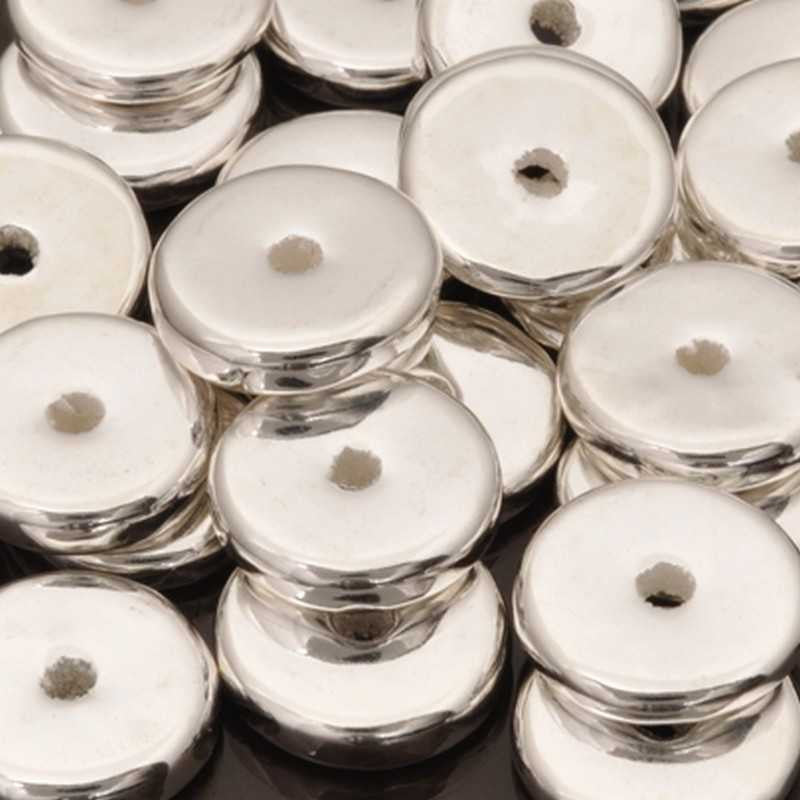 Ceramic Beads-13mm Round Disc-Silver-Quantity 10