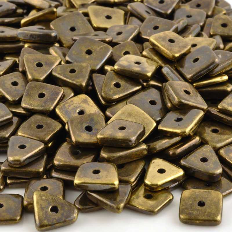 Ceramic Beads-14mm Abstract-Antique Bronze-Quantity 5
