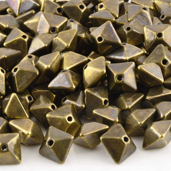 Ceramic Beads-15mm Octahedron-Antique Bronze
