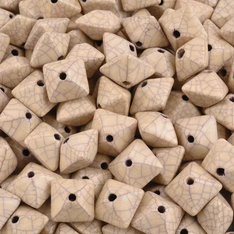 Ceramic Beads-15mm Octahedron-Antique Dust-Quantity 2