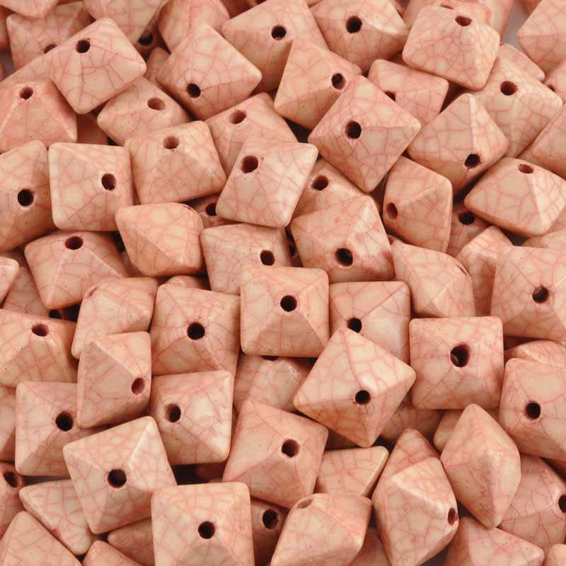 Ceramic Beads-15mm Octahedron-Antique Rose-Quantity 2