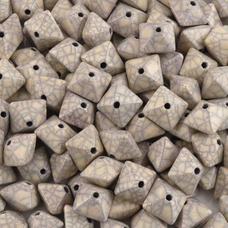 Ceramic Beads-15mm Octahedron-Antique Violet-Quantity 2