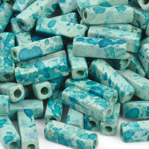 Ceramic Beads-15x4.4mm Tube-Seafoam Splash