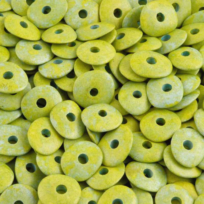 Ceramic Beads-16mm Donut-Lime Green-Quantity 10