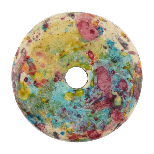 Ceramic Beads-16mm Round Disc-Forest Splash