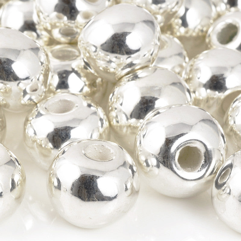 Ceramic Beads-16mm Round-Silver