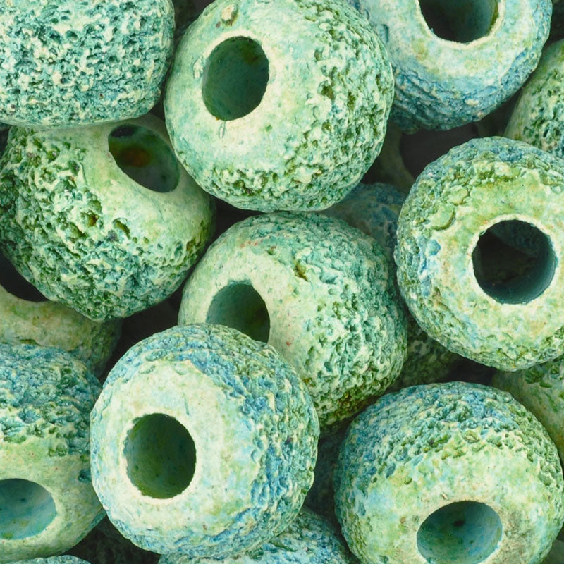 Ceramic Beads-17mm Coarse Tube-Blue Lime