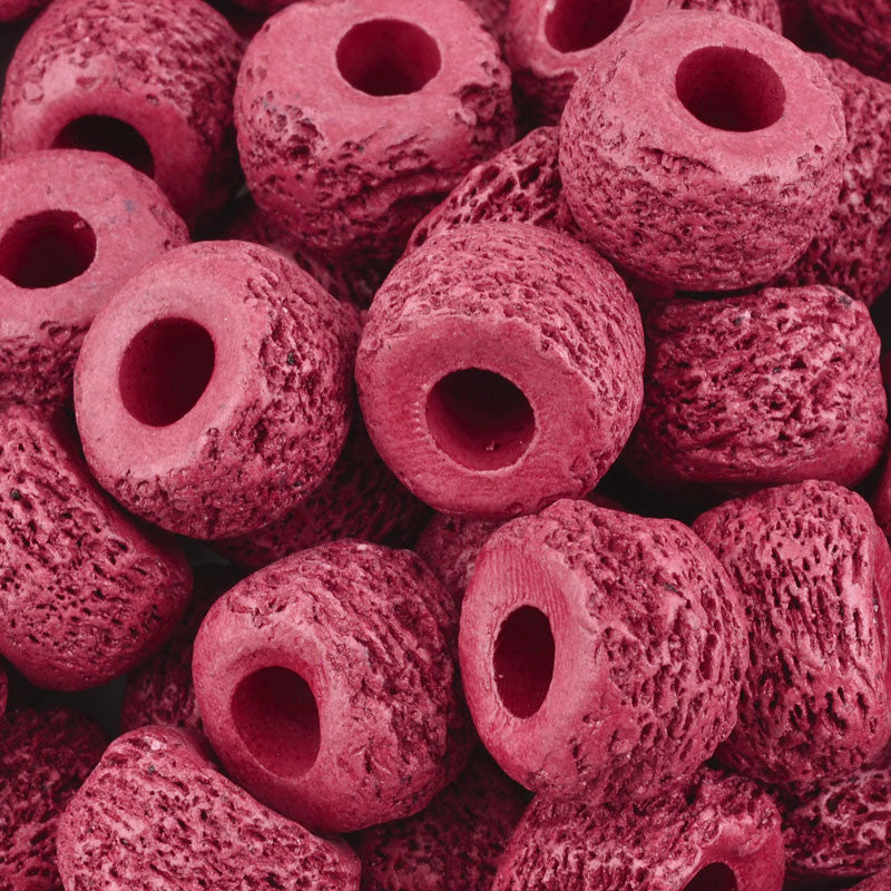 Ceramic Beads-17mm Coarse Tube-Bordeaux