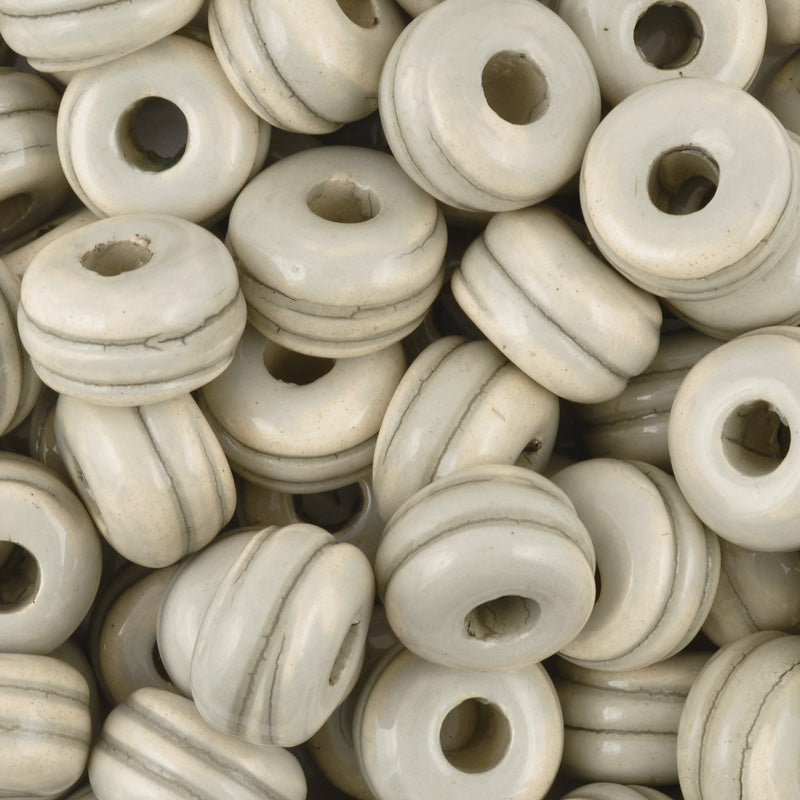 Ceramic Beads-17mm Rondelle Bead With Grooves-Taupe Sage Enamel