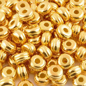 Ceramic Beads-17mm Rondelle  with Grooves-Gold-Quantity 1