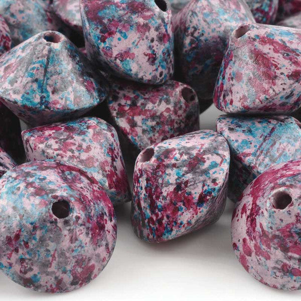 Ceramic Beads-23mm Top-Blue Violet Splash
