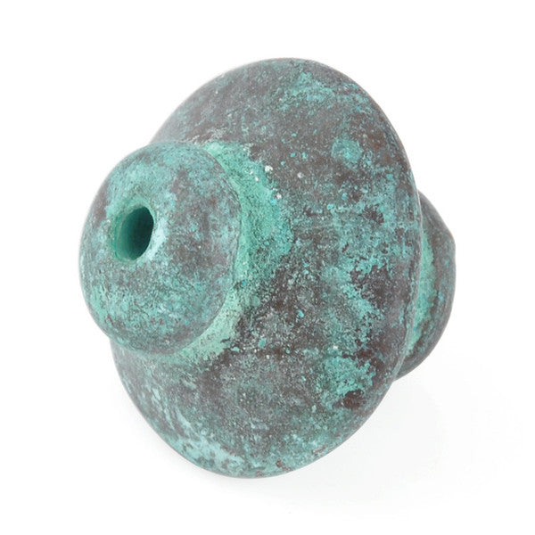 Ceramic Beads-18mm Shaped Top-Green Patina