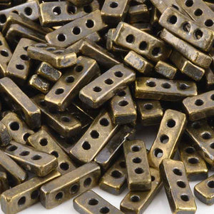 Ceramic Beads-18x7mm Three Hole Multi Strand Spacer-Antique Bronze