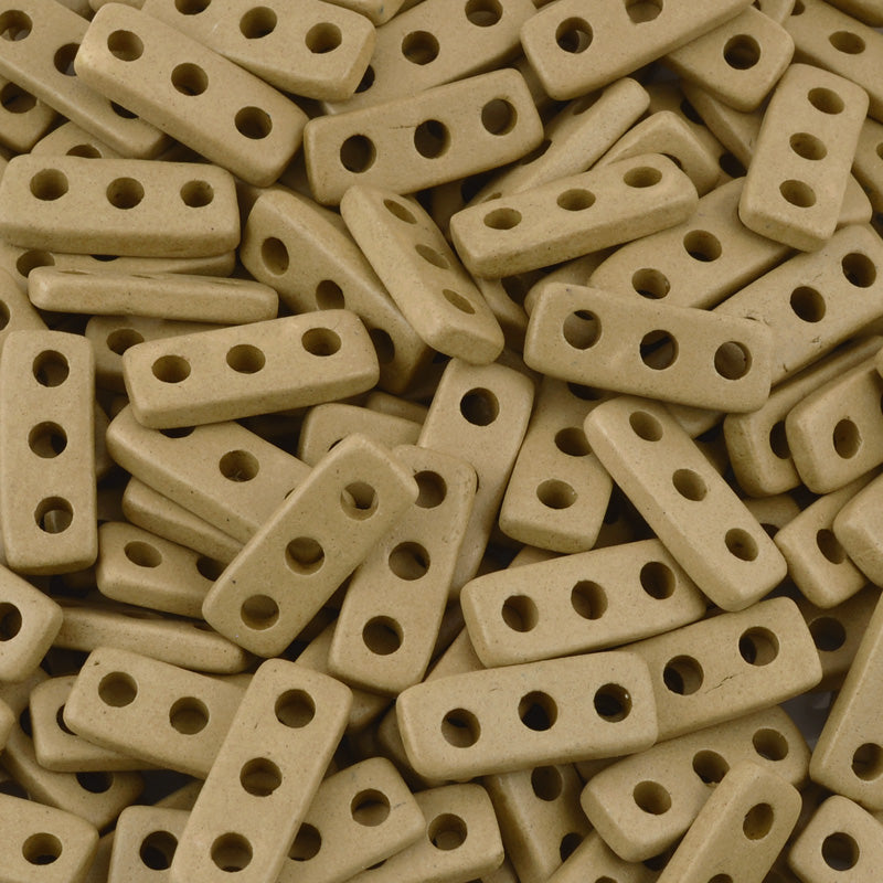 Ceramic Beads-18x7mm Three Hole Multi Strand Spacer-Ecru