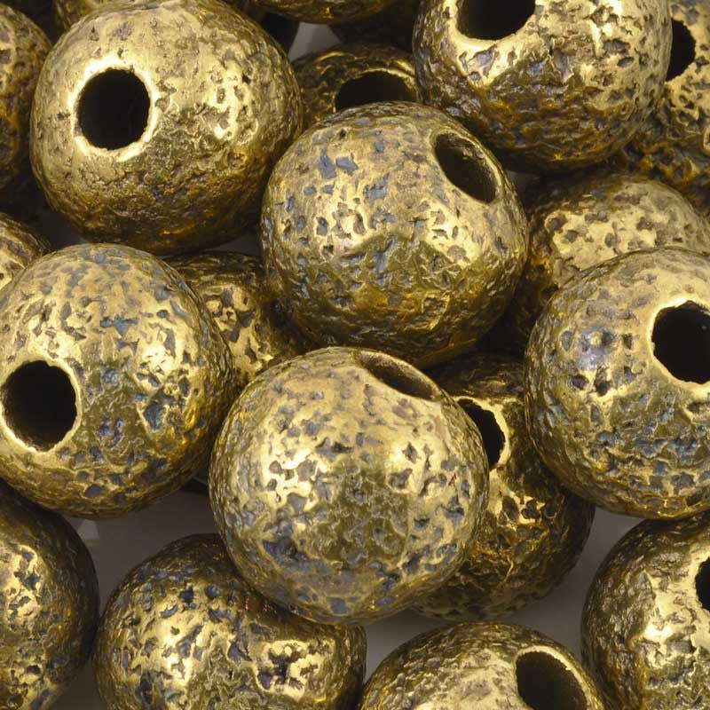 Ceramic Beads-20mm Coarse Round-Antique Bronze