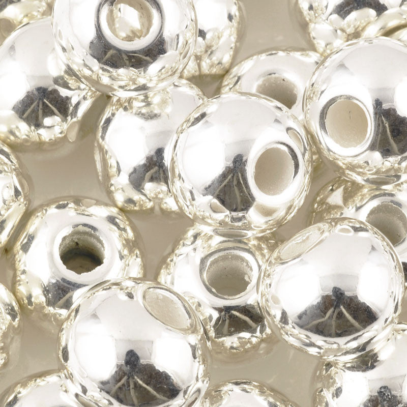 Ceramic Beads-20mm Round-Silver
