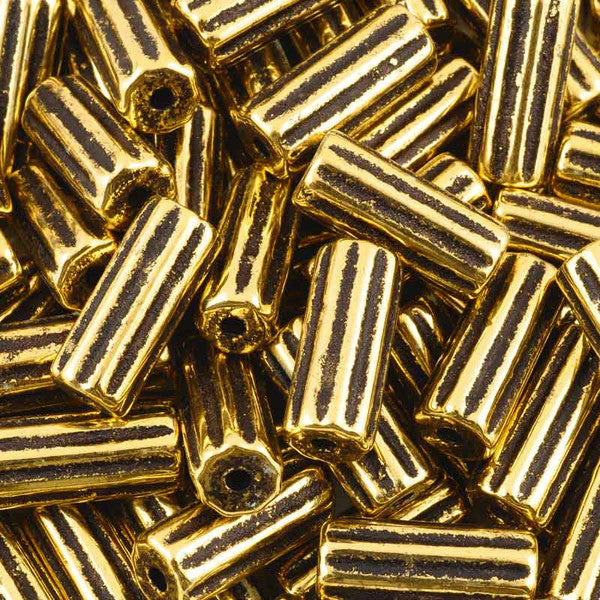 Ceramic Beads-21x9mm Ridged Tube-Antique Gold