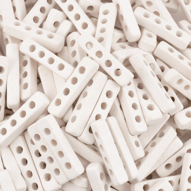 Ceramic Beads-25x6mm Four Hole Multi Strand Spacer-White