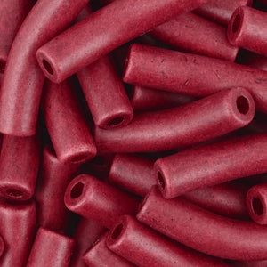 Ceramic Beads-27x6mm Curved Tube-Bordeaux