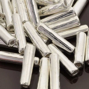 Ceramic Beads-16x3.5mm Tube-Silver-Quantity 10