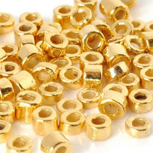 Ceramic Beads-3mm Tube-Gold-Quantity 25
