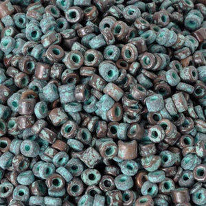 Ceramic Beads-3mm Tube-Green Patina-1 Gram