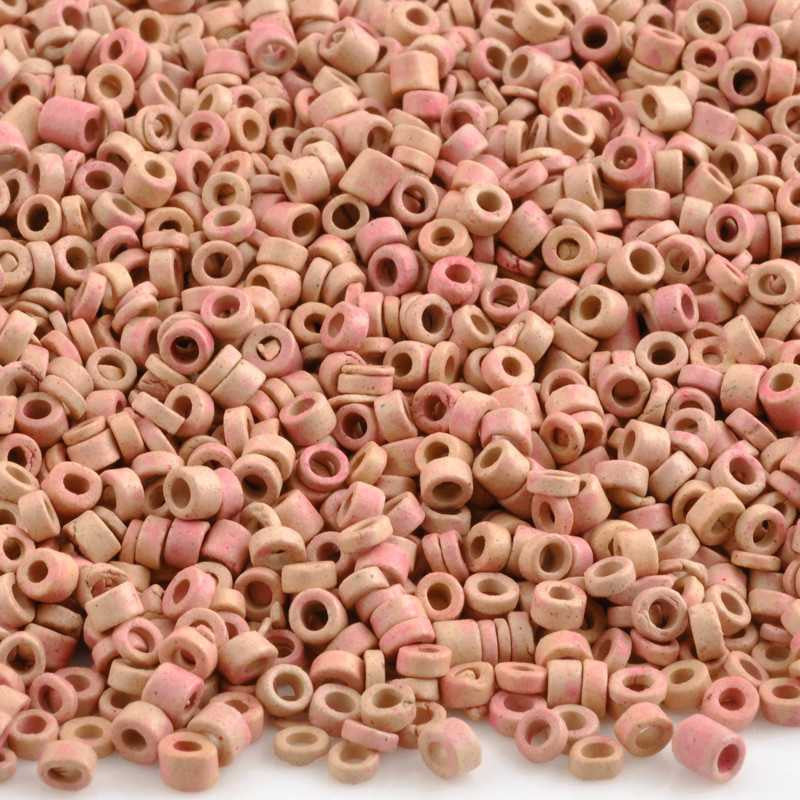 Ceramic Beads-3mm Tube-Natural Pink-5 Grams