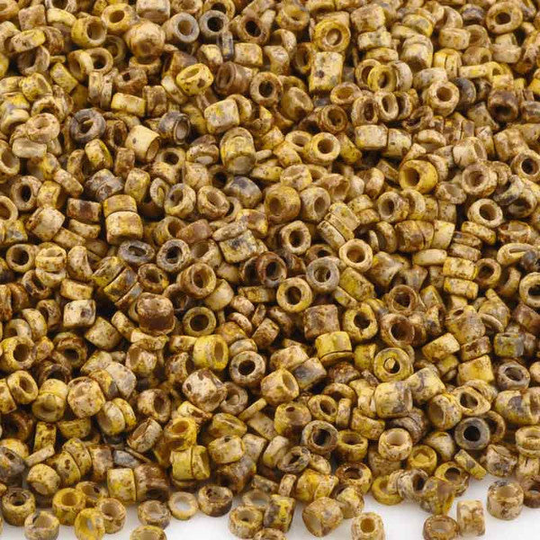 Ceramic Beads-3mm Tube-Sunflower Splash