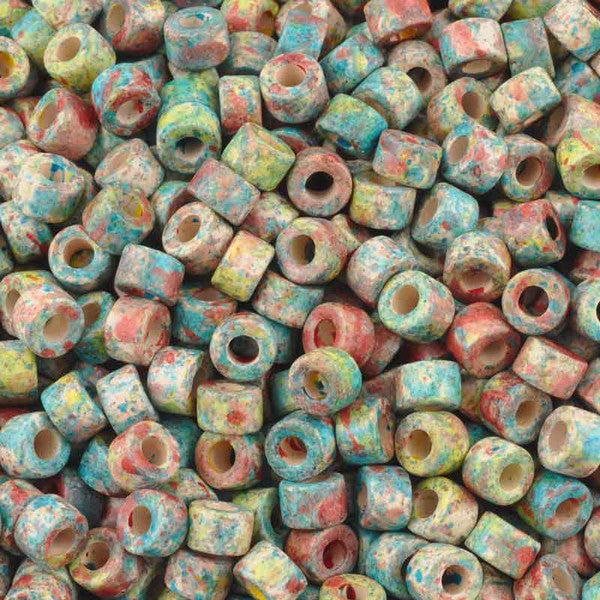 Ceramic Beads-4x6mm Tube-Candy Splash-Quantity 50