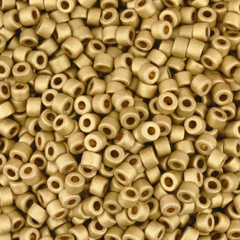 Ceramic Beads-4x6mm Tube-Earthy Metallic Gold-Quantity 50