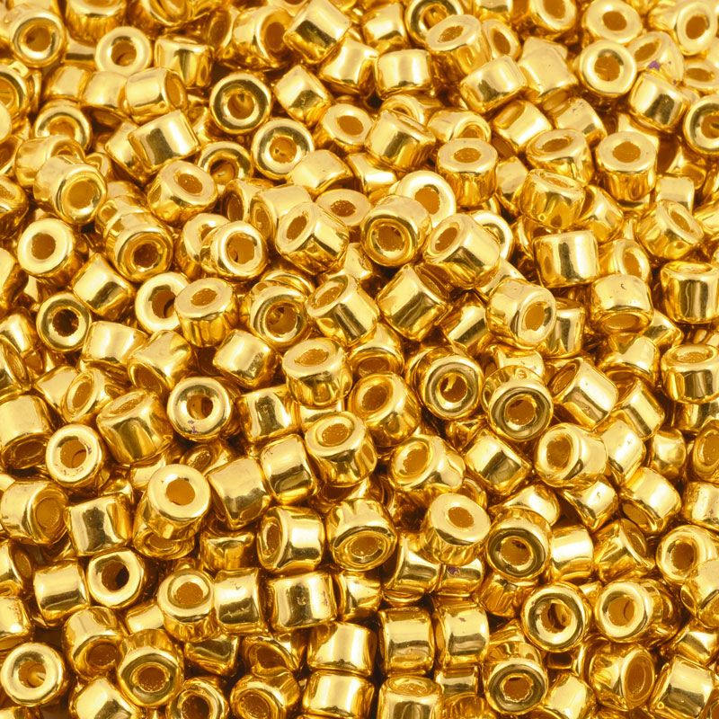 Ceramic Beads-4x6mm Tube-Gold-Quantity 10