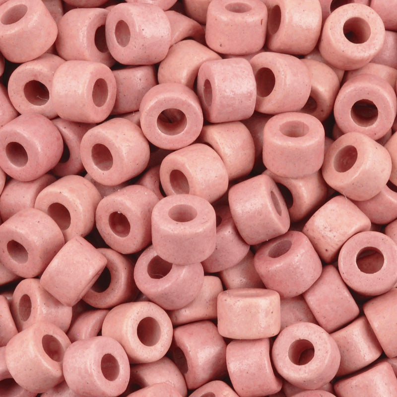 Ceramic Beads-4x6mm Tube-Rose Pink