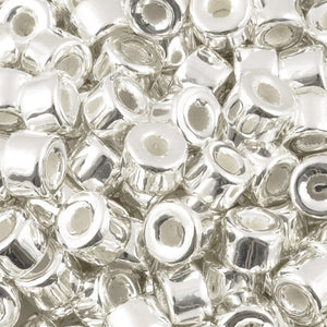 Ceramic Beads-4x6mm Tube-Silver