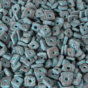 Ceramic Beads-5mm Abstract-Green Patina-Quantity 10