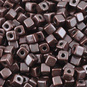 Ceramic Beads-5mm Cube-Antique Copper