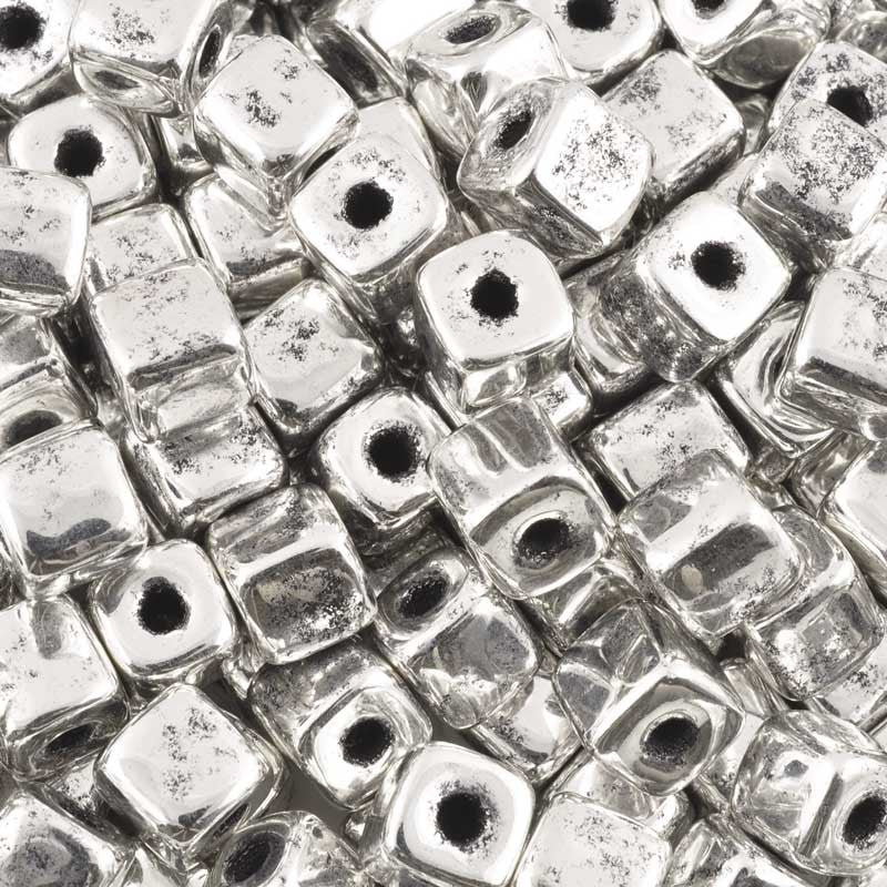 Ceramic Beads-5mm Cube-Antique Silver-Quantity 10