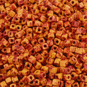 Ceramic Beads-5mm Cube-Copper Splash-Quantity 20