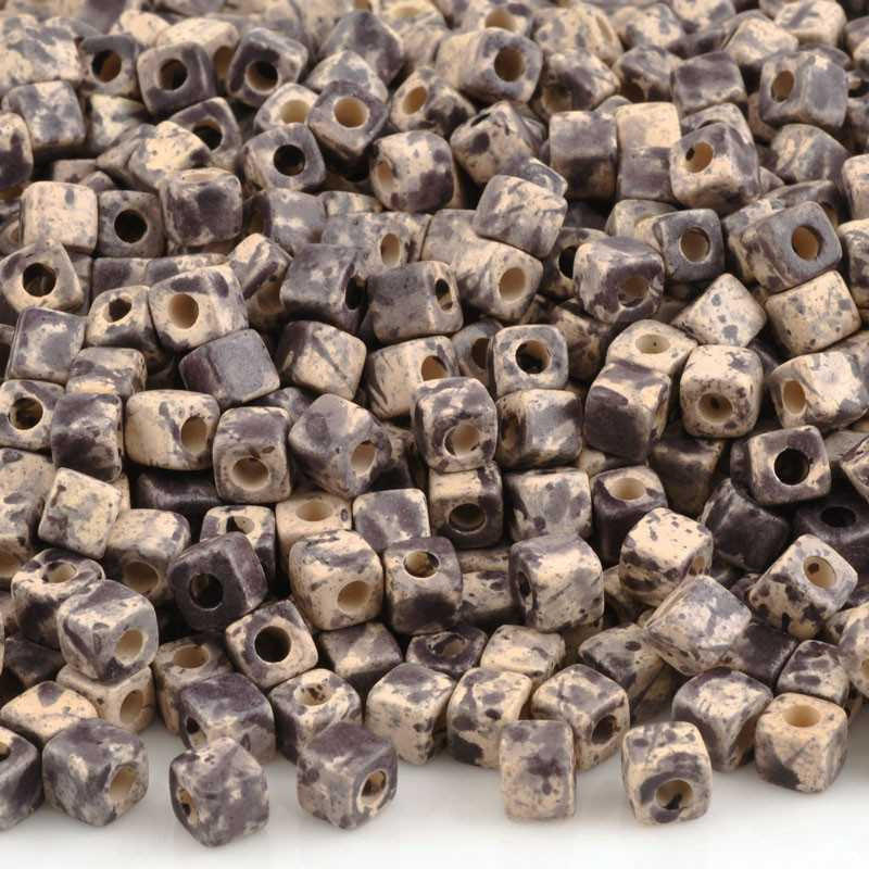 Ceramic Beads-5mm Cube-Dark Taupe Splash-Quantity 20