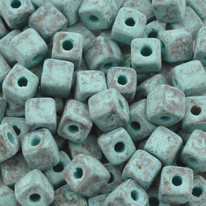 Ceramic Beads-5mm Cube-Green Patina