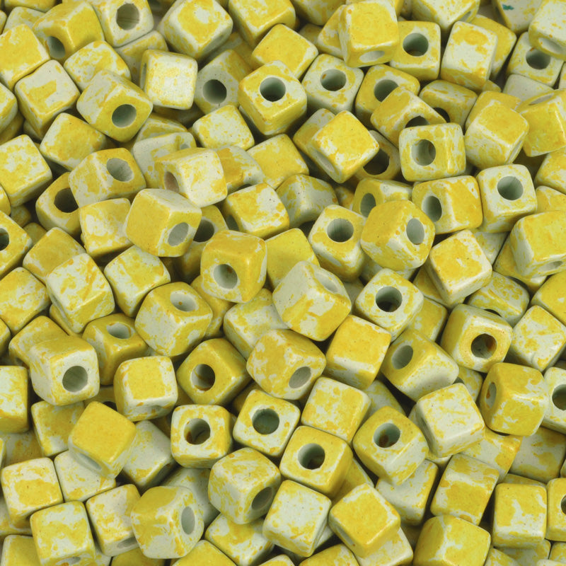 Ceramic Beads-5mm Cube-Lime Green-Quantity 20