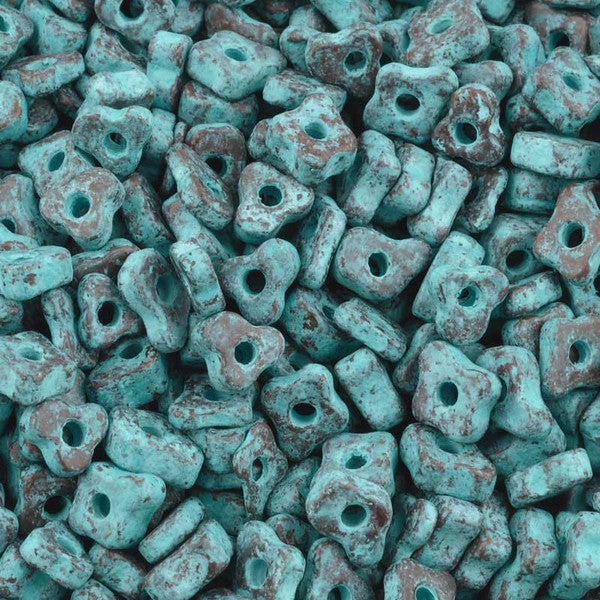 Ceramic Beads-5mm Puzzled-Green Patina