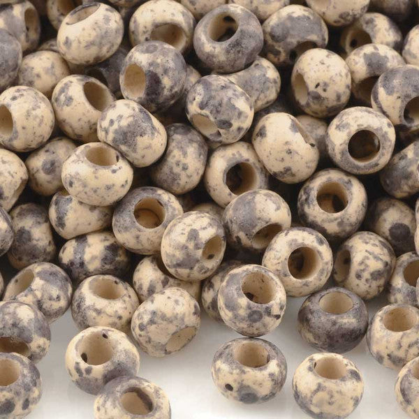 Ceramic Beads-5mm Round-Dark Taupe Splash