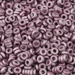 Ceramic Beads-6mm Large Hole Round Disc-Earthy Metallic Mauve