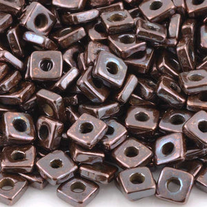 Ceramic Beads-6mm Large Hole Square Disc-Antique Copper