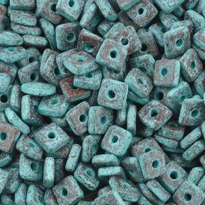 Ceramic Beads-6mm Large Hole Square Disc-Green Patina
