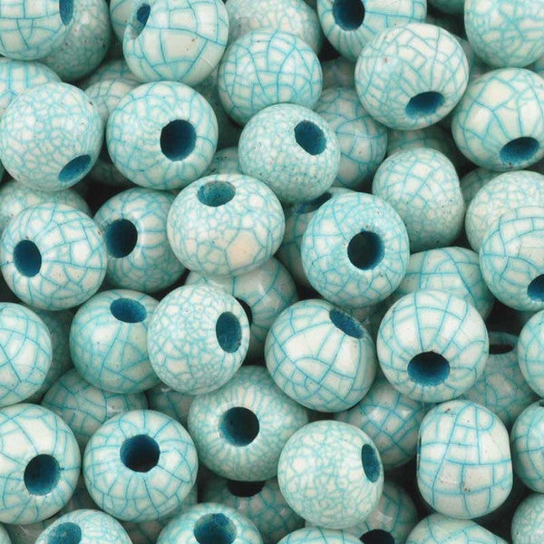 Ceramic Beads-6mm Round-Antique Teal
